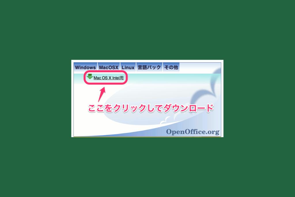 「MacOSX Intel 用」をクリックしてダウンロードします。